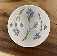 Handmade Small Porcelain Bowl Hand Painted in Forget Me Not Flower Pattern