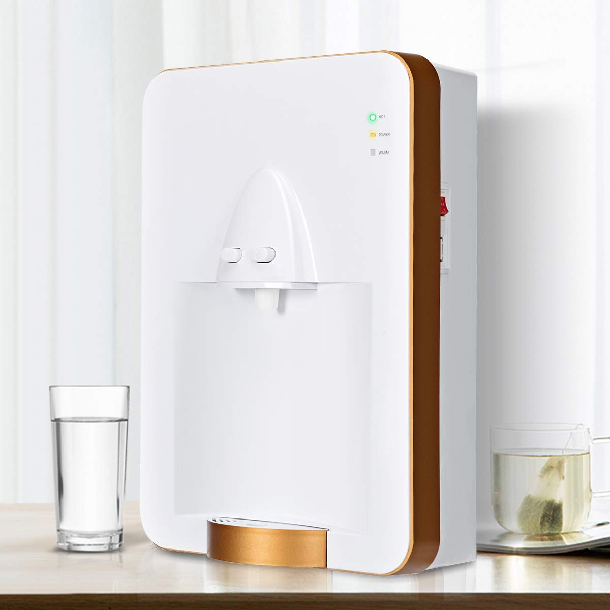 Goplus Small Water Dispenser Pipeline Wall-mounted, Quick Heating Warm and Hot Water Suitable for Home & Office