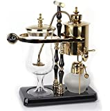 DGCoffee Belgian Belgium Luxury Royal Family Balance Syphon Coffee Maker Classic Double Column Top Grade, Classic and Elegant Design (Golden)
