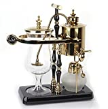 Diguo Belgian / Belgium Luxury Royal Family Balance Siphon / Syphon Coffee Maker. Elegant Double Ridged Fulcrum with Tee handle (Egyptian Black & Gold)