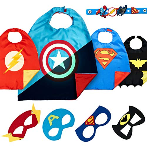 Super Hero Capes for Kids Toys –Dress Up Clothes for Boys – Superhero Party Supplies Birthday – 4 Kids Costumes with Glow in The Dark Captain America Logo ()