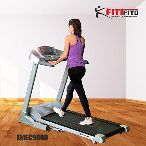 Fitifito 9000 Profi Laufband 7PS 22km/h mit LED Bildschirm, Dämpfungssystem, 5 Trainingsmodulen inkl. HRC - Klappbar, Silber
