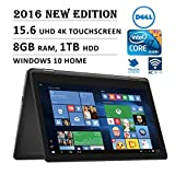 """DELL Inspiron 2-in-1 Flagship Premium High Performance 15.6"""" 4K 3840 x 2160 UHD Touch-screen Flip Convertible Laptop, Intel Core i7 Processor 2.5 GHz, 8GB Memory, 1TB HDD, Windows 10"""