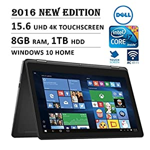 """2016 DELL Inspiron 2-in-1 Flagship High Performance 15.6"""" 4K 3840 x 2160 UHD Touch-screen Flip Convertible Laptop, Intel Core i7 Processor 2.5 GHz, 8GB Memory, 1TB HDD, Windows 10"""