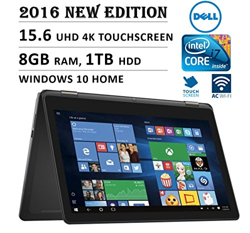 2016 DELL Inspiron 2-in-1 Flagship Premium High Performance 15.6' 4K 3840 x 2160 UHD Touch-screen Flip Convertible Laptop, Intel Core i7 Processor 2.5 GHz, 8GB Memory, 1TB HDD, Windows 10