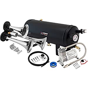 Vixen Horns Loud 135dB 3/Triple Chrome Trumpet Train Air Horn with 1.5 Gallon Tank and 150 PSI Compressor Full/Complete Onboard System/Kit VXO8715/3311