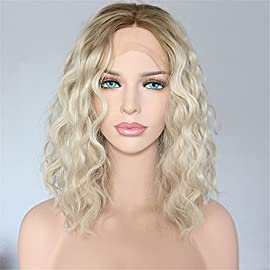 Sapphirewigs Short Green Brown Roots Ombre Light Blonde Curly Water Wave Hand Tied Beauty Blogger Women Daily Makeup Synthetic Lace Front Party Wigs