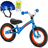 Schwinn 12 inch Kids Skip 3 Durable Lightweight Steel Frame and Handlebar Balance Bike Bicycle for Boys with Razor Helmet and Disinfectant Wipes- Blue