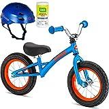 Schwinn 12 inch Kids Skip 3 Durable Lightweight Steel Frame and Handlebar Balance Bike Bicycle for Boys with Razor Helmet and Disinfectant Wipes- Blue