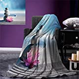 Spa Digital Printing Blanket Stones and Lotus Flower Over Sand Meditation Harmony Balance Flourish Your Spirit Summer Quilt Comforter 80''x60'' Grey Blue Pink