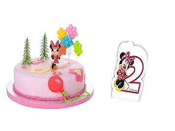 Tortendeko Set 2geburtstag Minnie Mouse 5 Teilig Mit Tortenkerze