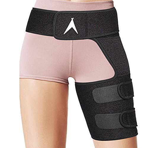Action Tribex Hip Brace - Sciatica Pain Relief and Groin Support - Adjustable Compression Wrap for Hamstring Thigh Quad Lower Back - Muscle Joint Stabilizer Injury Recovery Strap for Men and Women