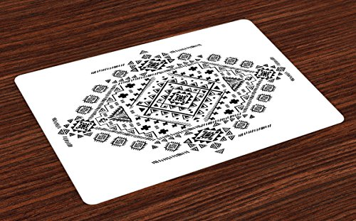 Triangles Pool Tablecloth (Ambesonne Mexican Place Mats Set of 4, Ancient Maya with Prehistoric Geometric Form Triangles Lines and Squares Print, Washable Fabric Placemats for Dining Room Kitchen Table Decor, Black White)
