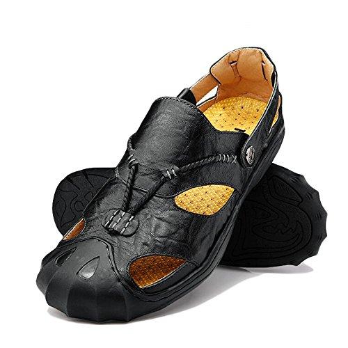 Baotou Crash LEDLFIE Casual Uomo Outdoor Shoes Sandals Sandali Uomo da da Black Scarpe wxqxg1