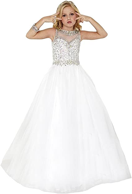 Amazon.com: SuMeiyue Girls' White Scoop Beaded Crystal Full Party