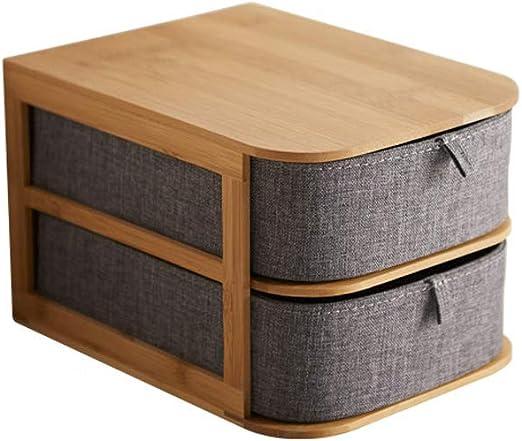 Cajas Decorativas Organizador de Maquillaje, Cosméticos Caja de Almacenamiento de Escritorio Joyero Caja de Almacenamiento de bambú Gris de Oxford con cajón Cajas de almacenaje (tamaño : A): Amazon.es: Hogar