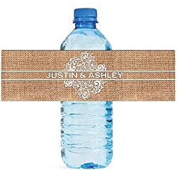 "100 Burlap and Lace Wedding Water Bottle Labels Great for Engagement Bridal Shower Party 8""x2"""