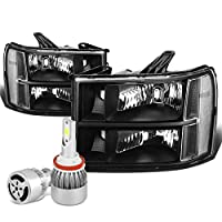 For GMC Sierra GMT900 Pair of Black Housing Clear Corner Replacement Headlight + H8 LED Conversion Kit W/Fan