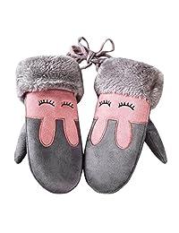 Childrens Winter Warm Mittens,ChainSee Boys Girls Cute Twist Gloves With String