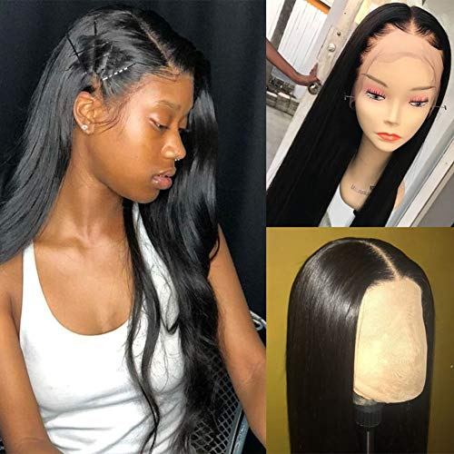 Silky Straight Lace Wig - Dalisi Wigs 360 Lace Frontal Wig Silky Straight Brazilian Virgin Human Hair 13x6 Lace Wigs Pre Plucked with Baby Hair 150% Density Natural Color 22inch