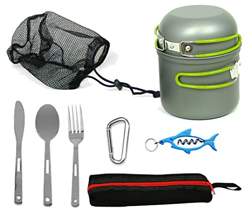 Wealers Compact Foldable Outdoor Camping Hiking Cookware Backpacking Cooking Picnic Bowl Pot Pan Set with Mesh Bag (Green, 9 piece Set)