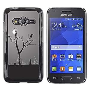 TopCaseStore / la caja del caucho duro de la cubierta de protección de la piel - Moon Parrot Art Drawing Rainforest Climate Change - Samsung Galaxy Ace 4 G313 SM-G313F