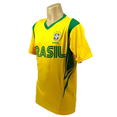 df0a525f5 Amazon.com   Brazil Soccer Yellow Wordmark Jersey Style Performance ...