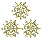 YIYEZI 3 Pcs Christmas Snowflake Xmas Tree Hanging Ornament Party Festival Pendant Decorations (Gold)