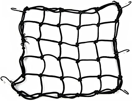 Heavy-duty Elasticated Bungee Luggage Cargo Net Motorcycle Bike Equipment Cargo with Hooks Pack of 2-40 x 40cm Black