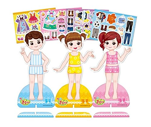 KONGSUNI Magnetic Doll Dress Up Play Kit Dress 4 Sheet Doll 3PCS