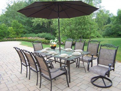 Oakland Living Cascade 9-Piece Dining Set with 72 by 42-Inch Table, 6  Stackable Chairs, 2 Swivel Rockers, 9-Feet Brown Tilting Umbrella and Stand