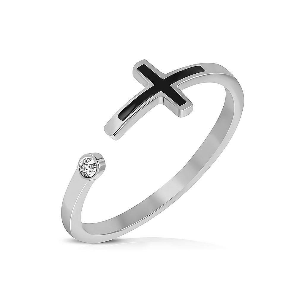 Pure316 Women's 2-Tone Latin Cross Ring w/ Clear CZ in 316L Stainless Steel - JK-WRP220 Leviev Ltd. JK-WRP220-7