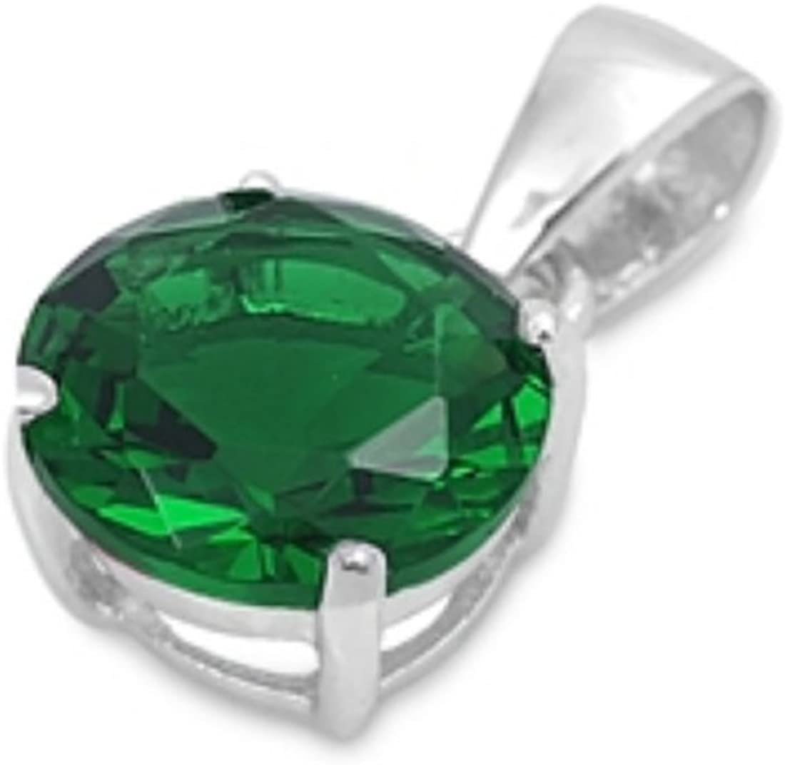 Blue Apple Co. Solitaire Pendant Charm for Necklace Round Simulated Green Emerald 925 Sterling Silver