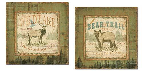 Rustic Wildlake Buck And Bear Trail Park Set By Pela; Cabin Lodge Decor; Two