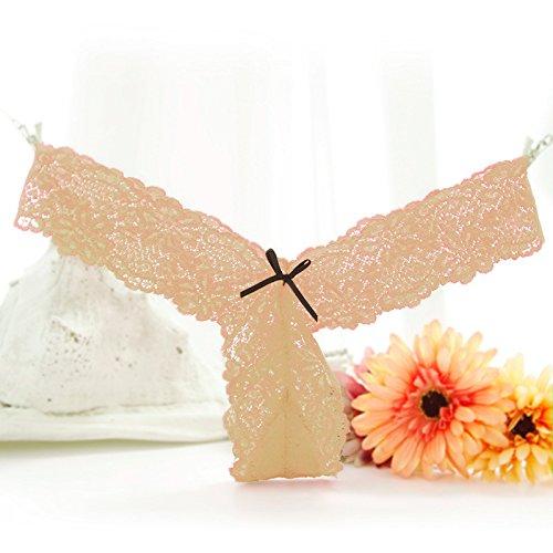 Culotte Femme Sous-vêtements sexy en dentelle pur Noeud papillon femelle vers le bas, sous-vêtements Non-Marking tentation string noir transparent , appuyez sur T