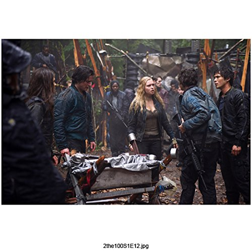The 100 (TV Series 2014 - ) 8 inch by 10 inch PHOTOGRAPH Eliza Taylor from Thighs Up Talking to Boys Surrounding Wheel Barrow kn