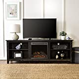 70 inch tv stands with fireplace - New 70 Inch Wide Black Fireplace Television Stand with Fireplace Insert