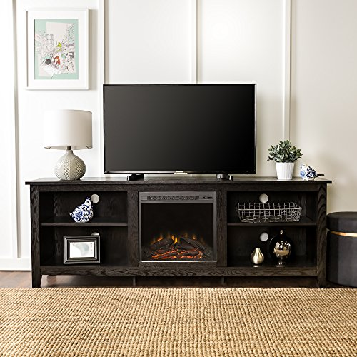 Cheap New 70 Inch Wide Black Fireplace Television Stand with Fireplace Insert Black Friday & Cyber Monday 2019