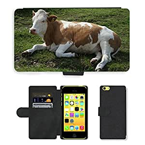 Hot Style Cell Phone Card Slot PU Leather Wallet Case // M00108081 Cow Animal Relaxed Alm Kampenwand // Apple iPhone 5C