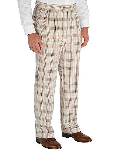 Paul Fredrick Men's Brown Plaid Pure Linen D-ring Pleated Pants Brown 32