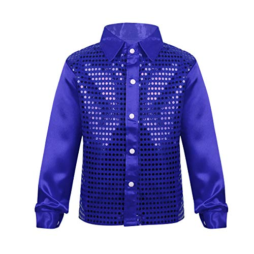 Alvivi Kids Boys Long Sleeve Sequin Shirt Tops Disco Hip-hop Jazz Dance Stage Performance Costumes Blue 10-12
