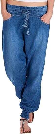 Fly Year-JP 女性のソリッドカラーファッションハーレム弾性ウエストルーズドローストリングジーンズデニムパンツ Blue Medium