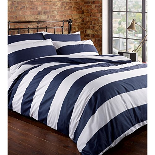 Classic Cabana Rugby Stripe Print Duvet Cover 100-Cotton Bedding Set Modern Geometric Crisp White and Navy Blue Stripes Reversible Pattern (King, Navy Blue) (Crisp White Bedding)