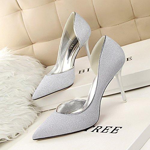 l'argent silver golden des et 9 seul talons l'été of et ZHANGJIA les chaussures centimeters au sexy à mince printemps petits xYz74XqH