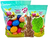 Organic Biodegradable Easter Eggs with Green Recycled Easter Grass with Solid Organic Fair Trade Milk Chocolate Easter Bunny. Festive and Earth Friendly!