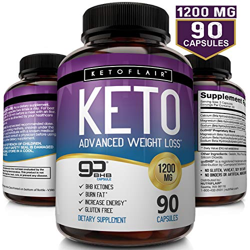 Best Keto Diet Pills GoBHB 1200mg, 90 Capsules - Ultra Fast Pure Keto Boost Ketosis Supplement - Advanced Natural BHB Salts (beta hydroxybutyrate) Exogenous Ketones for Men and Women, Non-GMO