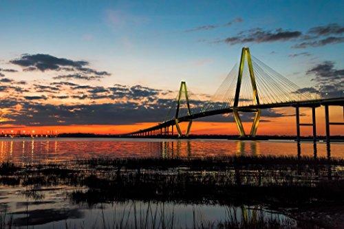 Arthur Ravenel Bridge (Arthur Ravenel Jr Bridge at Twilight Charleston Photo Art Print Poster 18x12)