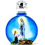 Azul Ovalado De Cristal botellas de Lourdes agua bendita y LOURDES tarjeta de oración)