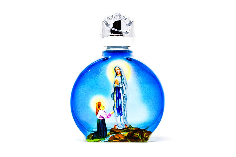 Blue Glass Oval Bottles of Lourdes Blessed Holy Water, Image Depicting St. Bernadette Kneeling to Our Lady of Lourdes & Lourdes Prayer Card