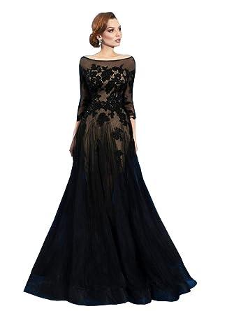 Amazon Kelaixiang Black A Line Long Evening Dress 34 Sleeves